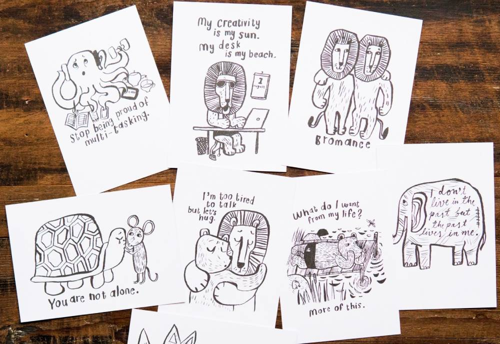 Postcards with inspirational messages and drawings