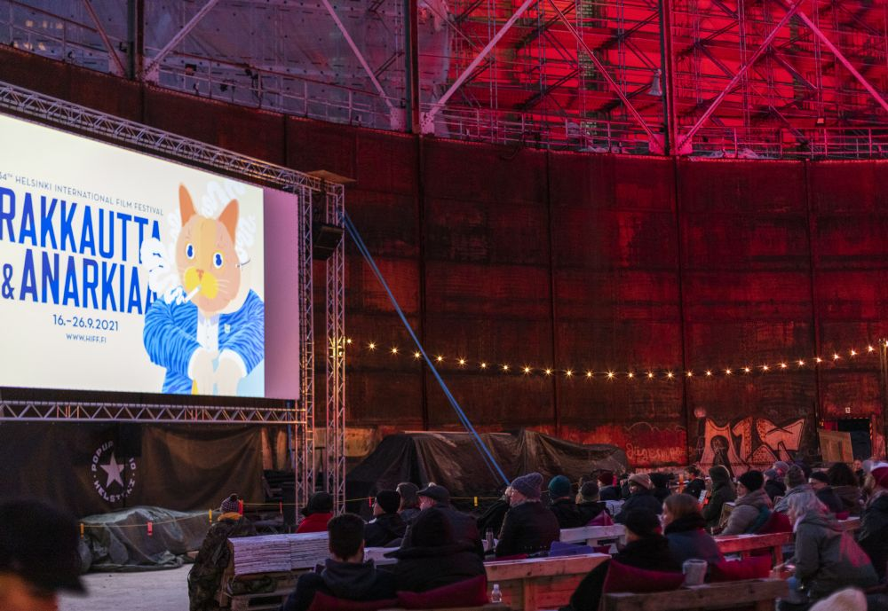 Outdoor film screening at the Love and Anarchy film festival in Helsinki