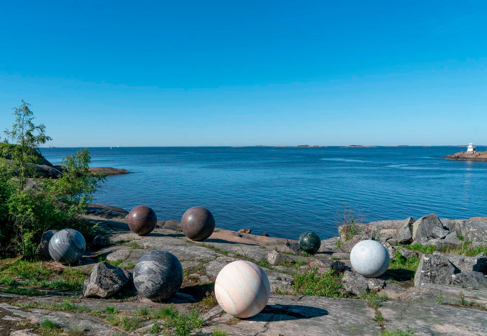 Art installation by the sea