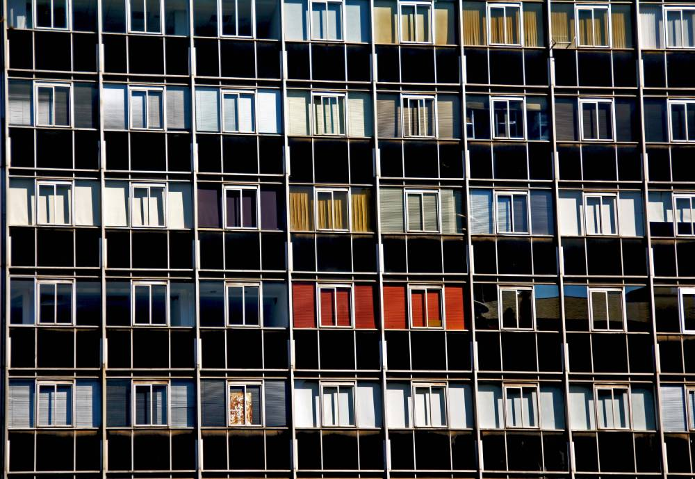 The colourful facade of an office building.