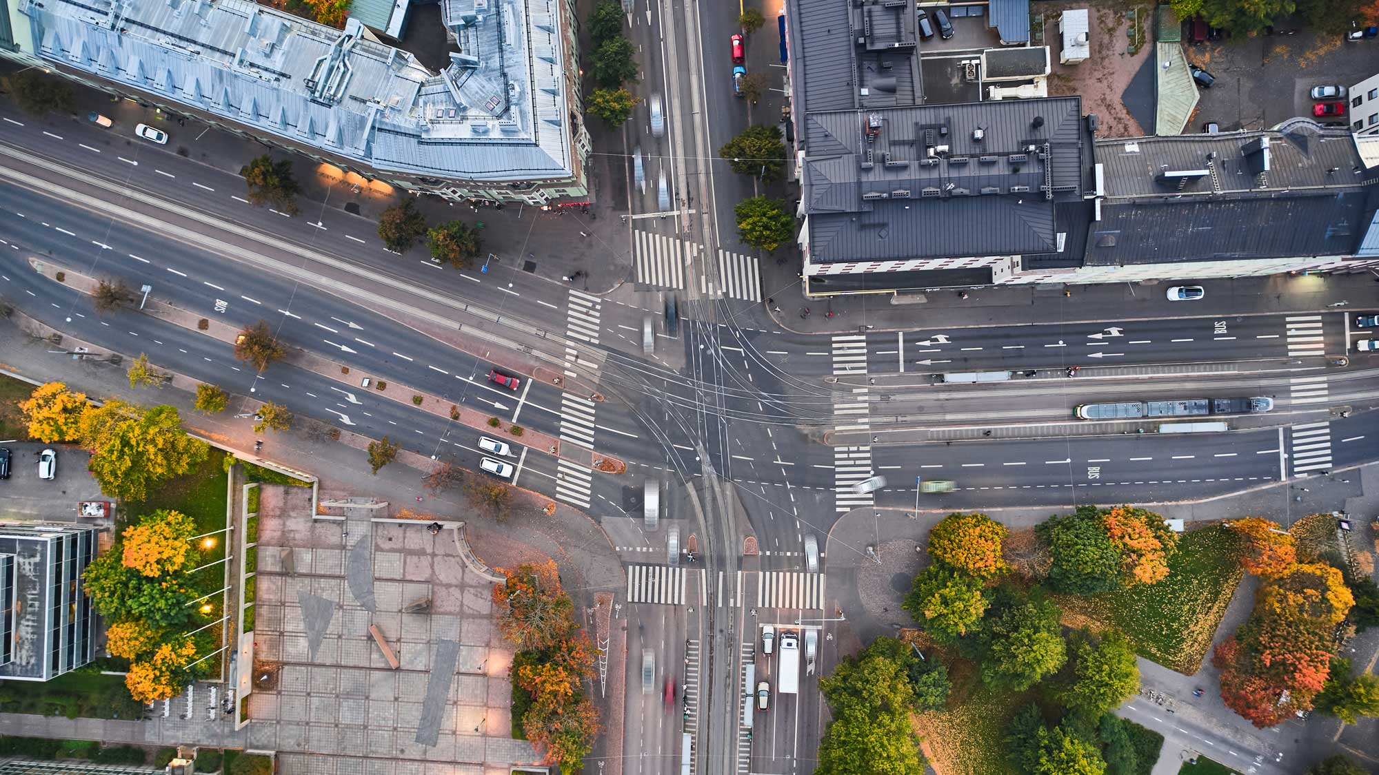 An aerial view of the intersection in Helsinki