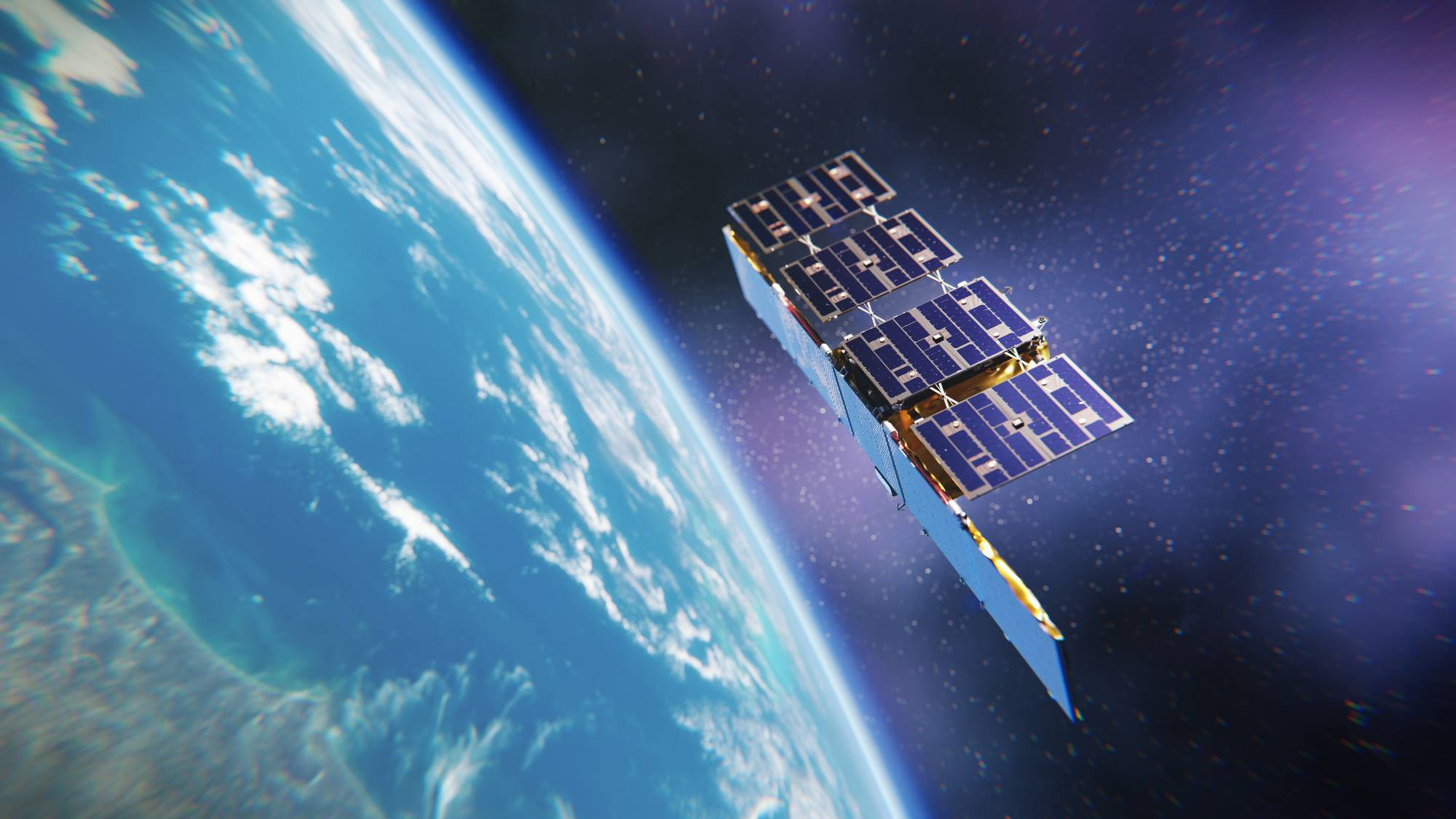 An artist's illustration of a synthetic aperture-radar satellite orbiting the Earth.