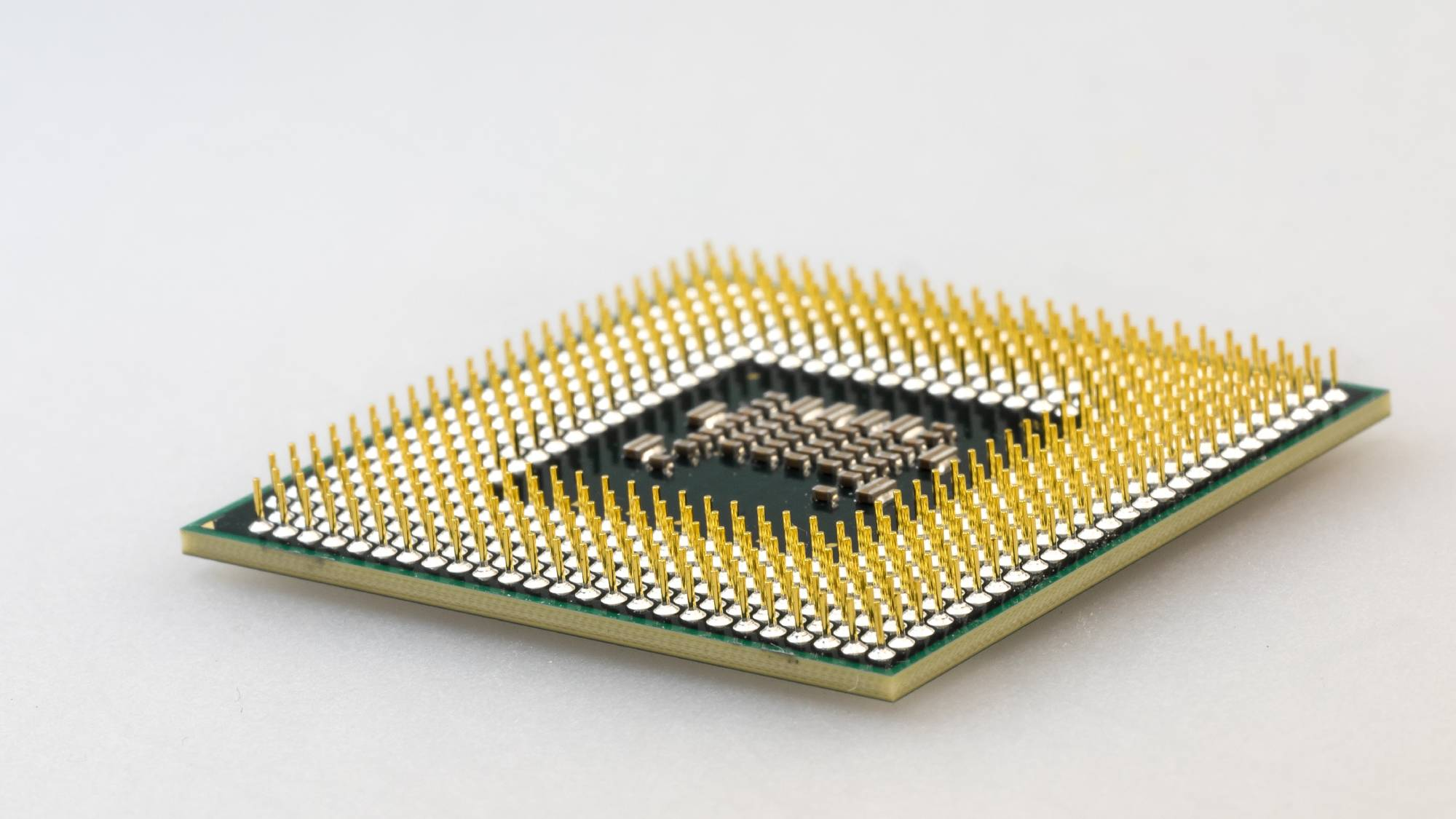 A studio close-up of a chipset.
